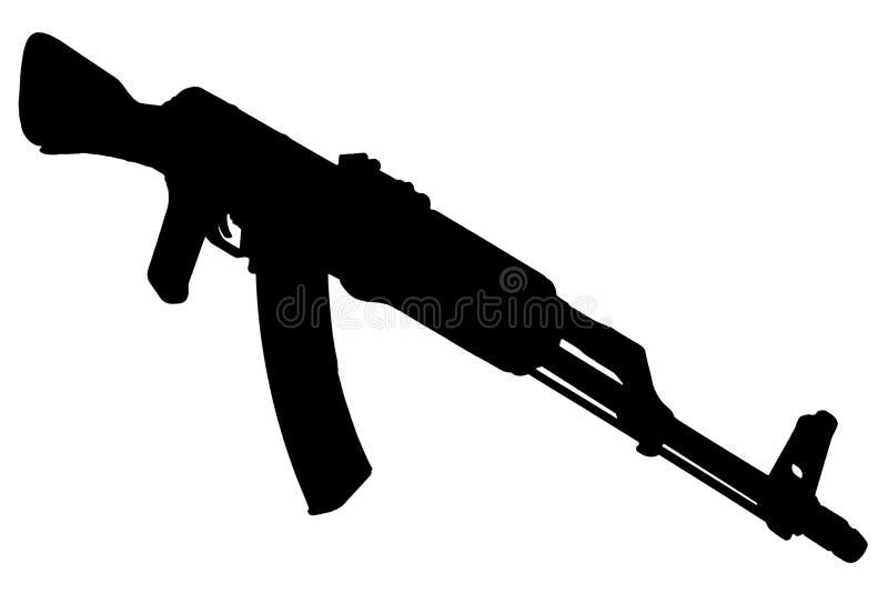AK - kontur för svart för gevär för anfall 47 arkivbilder