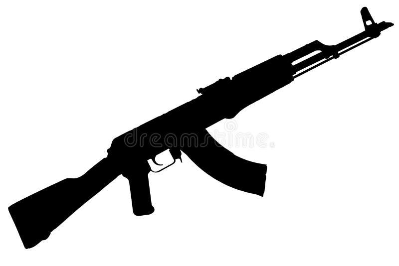AK - kontur för svart för gevär för anfall 47 arkivbild