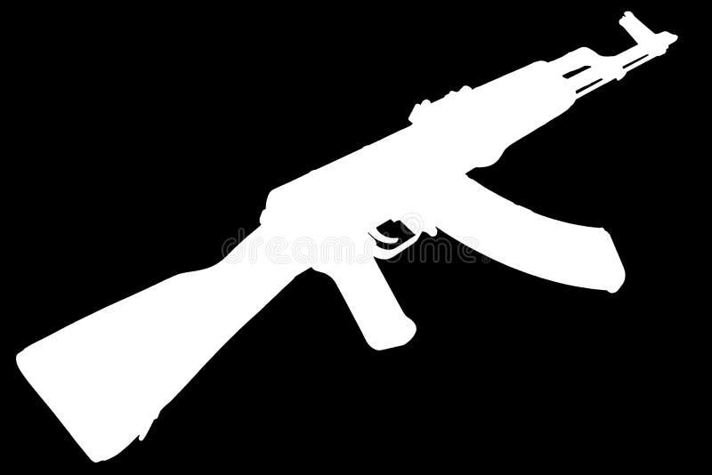 AK - kontur för svart för gevär för anfall 47 royaltyfria bilder