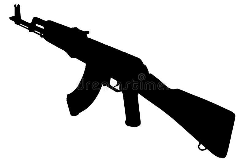 AK - kontur för svart för gevär för anfall 47 royaltyfri fotografi