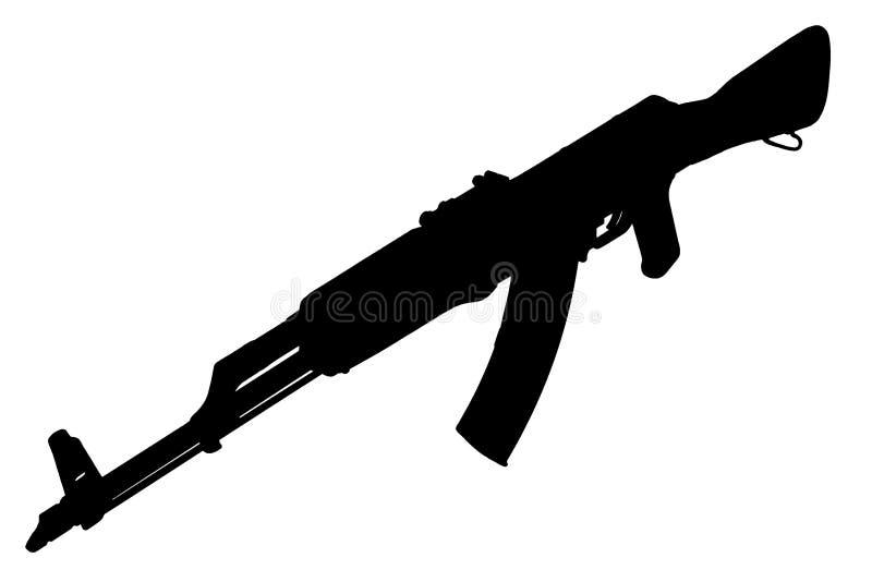 AK - kontur för svart för gevär för anfall 47 arkivfoto