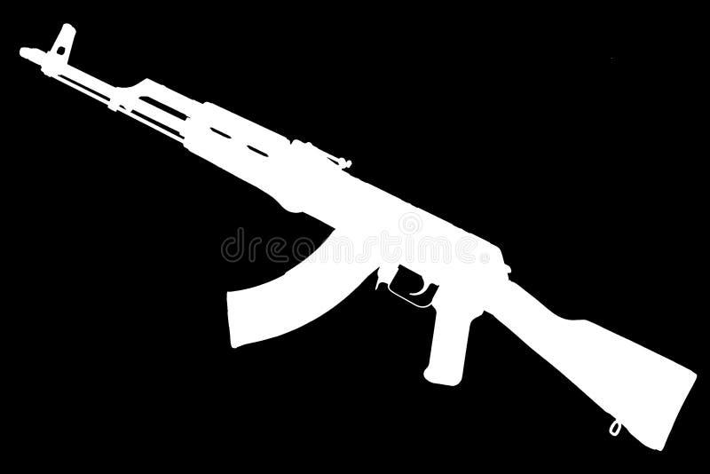 AK - kontur för svart för gevär för anfall 47 fotografering för bildbyråer