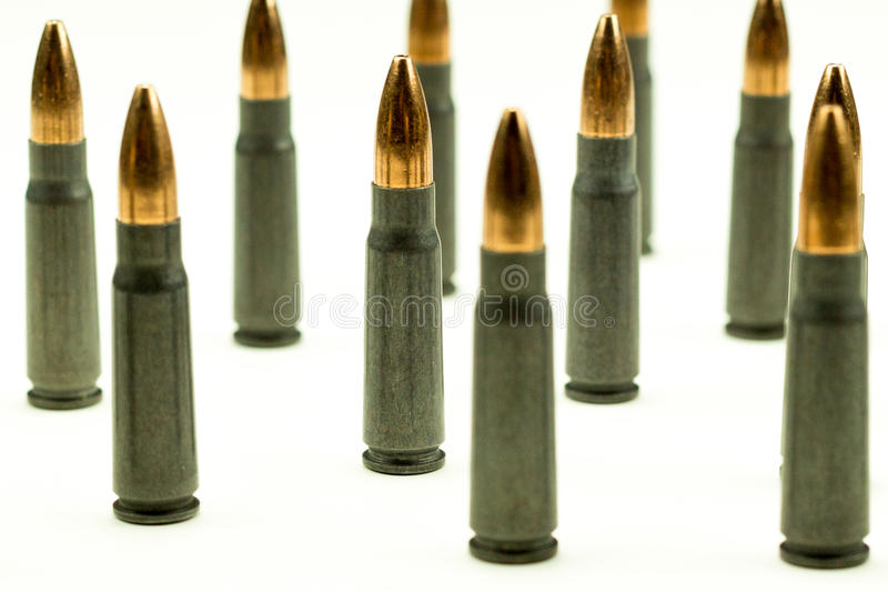 Ak-47 Rifle Cartridge Hollow Point Bullet 7.62x39mm Side View Tight Crop Abstract stock photos