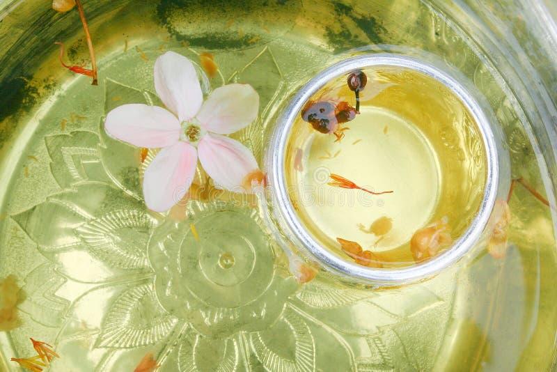 Akacjowy concinna poi w srebnym pucharze z kwiatu odgórnym widokiem, som lub używamy w Songkran festiwalu, kropimy wodę na a zdjęcia royalty free