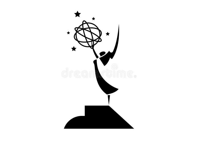 Akademia Narodowa w dziedzinie telewizji, sztuki i nauk ścisłych Koncepcja nagrody gwiazd, czarny anioł z gwiazdami Ikona posągu  ilustracja wektor