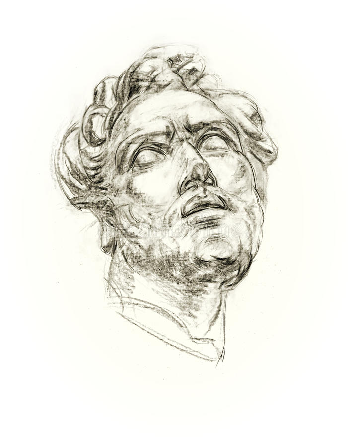 Akademicka rysunkowa antykwarska gips głowa ilustracji