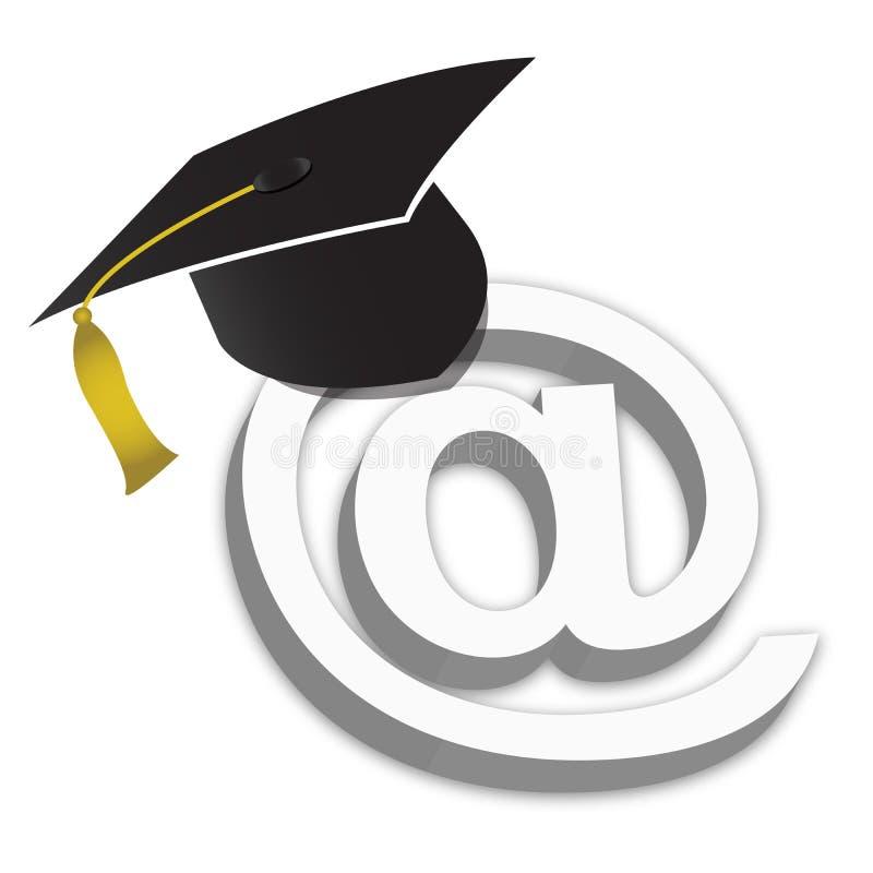 akademiker hatt för gradutbildning online royaltyfri illustrationer