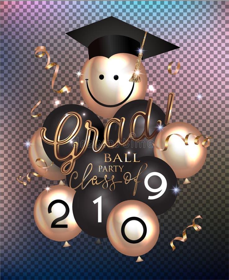 AKADEMIKERT BOLLPARTI med luftballonger, det guld- slingrande och avläggande av examenlocket stock illustrationer