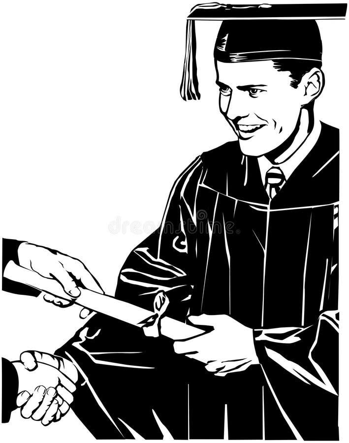 Akademikert häleridiplom royaltyfri illustrationer