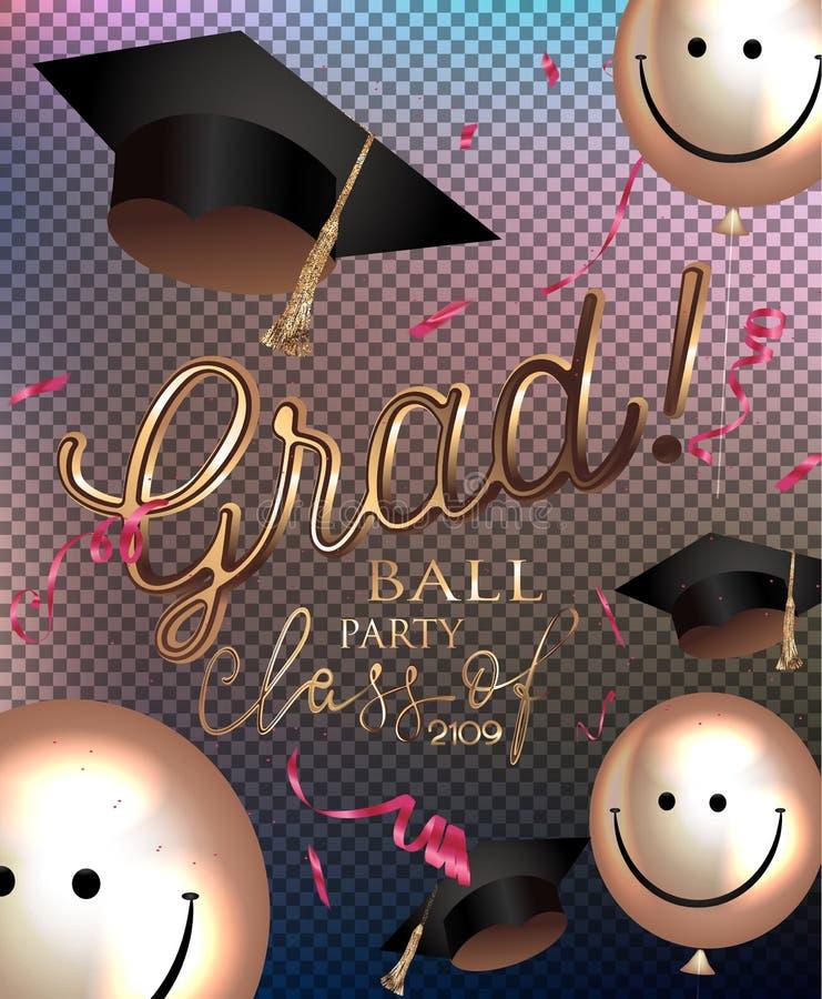 Akademikert partiinbjudankort med att le luftballonger, konfettier och avläggande av examenlock stock illustrationer