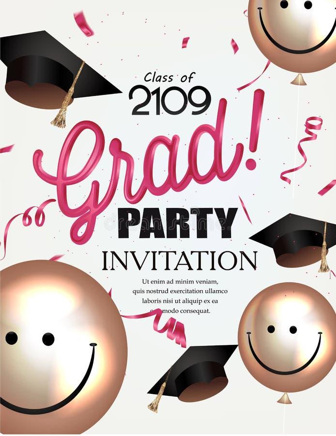 Akademikert partiinbjudankort med att le luftballonger och avläggande av examenlock vektor illustrationer