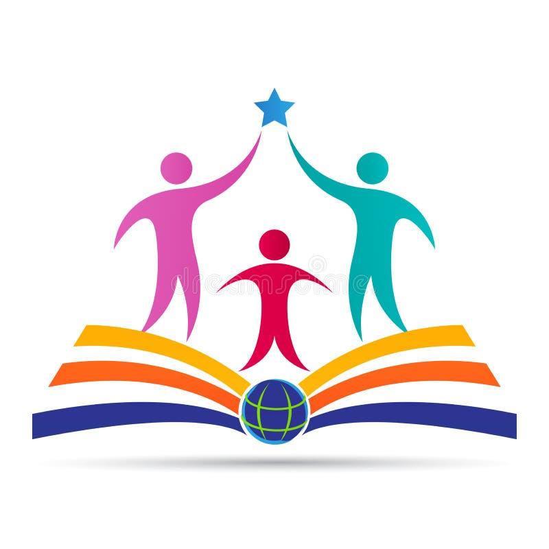 Akademisches Bildungsemblemschulcollegehochschulerfolgs-Logodesign lizenzfreie abbildung