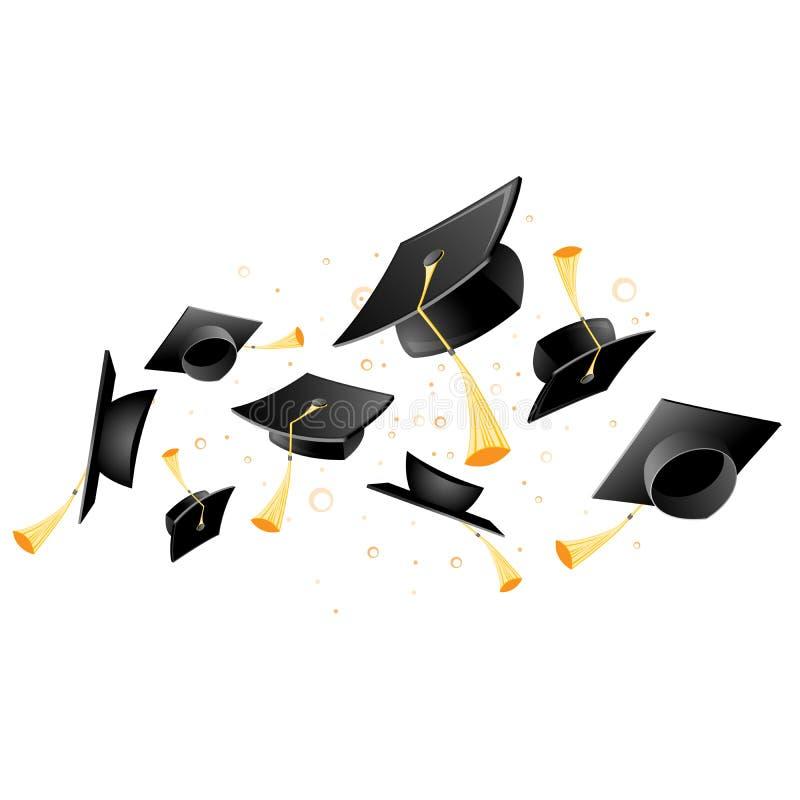 Akademisk akademikermössa för flyg - avläggande av examen, kast av studenthattar vektor illustrationer