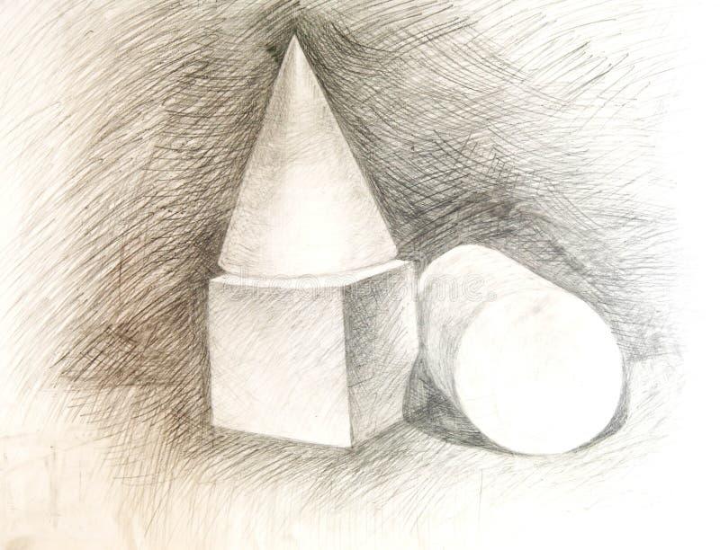 akademisk teckning för kottekubcylinder stock illustrationer