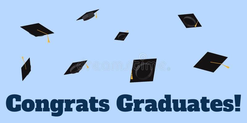 Akademiska koppar som kastas på himmelinskriften Congrats, avlägger examen den plana illustrationen för vektorn stock illustrationer