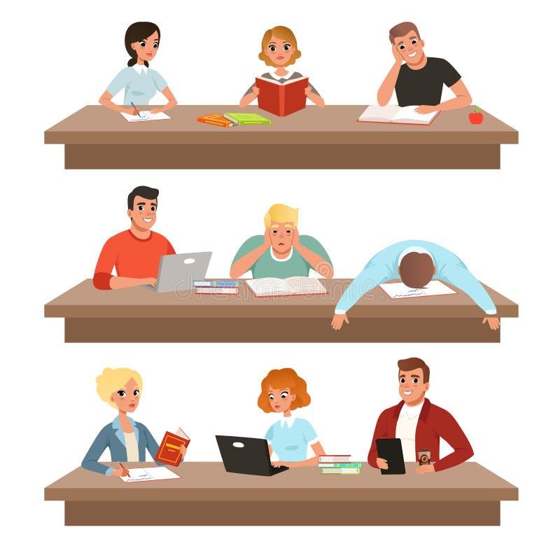 Akademiska studenter, i lärande processuppsättning, ungdomarläseböcker och att studera hårt för examenvektorn vektor illustrationer