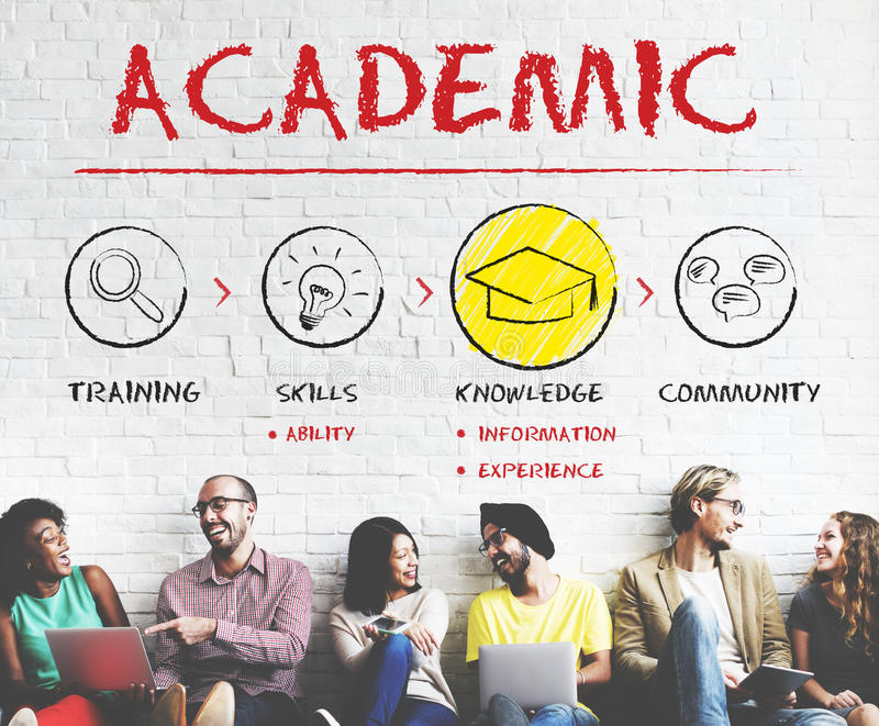 Akademiskt begrepp för utbildning för skolahögskolauniversitet royaltyfria foton