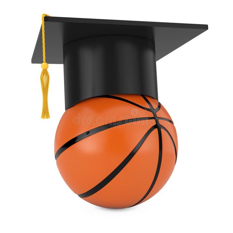 Akademiskt lock för avläggande av examen över orange basketboll renderin 3D vektor illustrationer