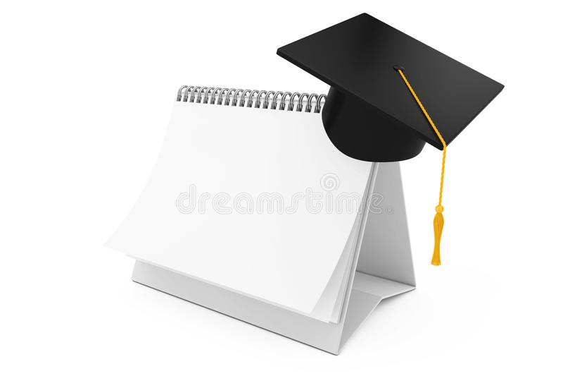 Akademiskt lock för avläggande av examen över för skrivbordspiral för tomt papper kalender 3 royaltyfri illustrationer