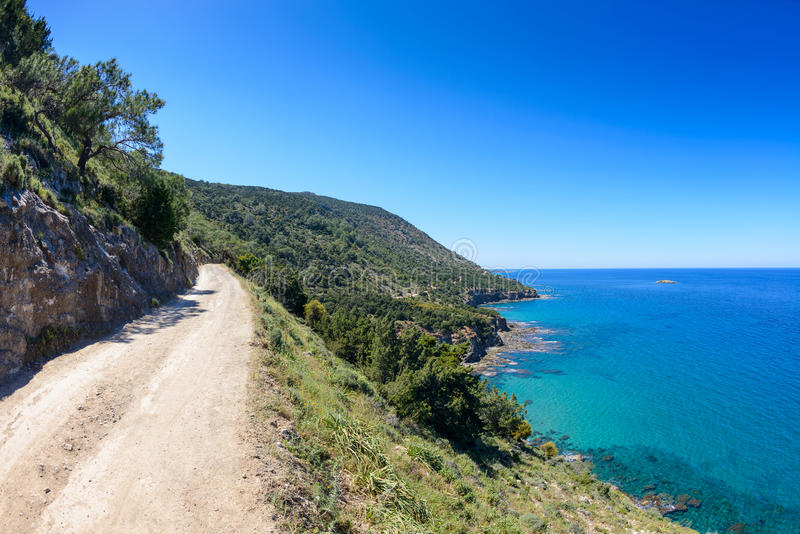 Akamas area coastline in cyprus 4. A view of a hiking trail in the akamas area coastline in cyprus royalty free stock photos