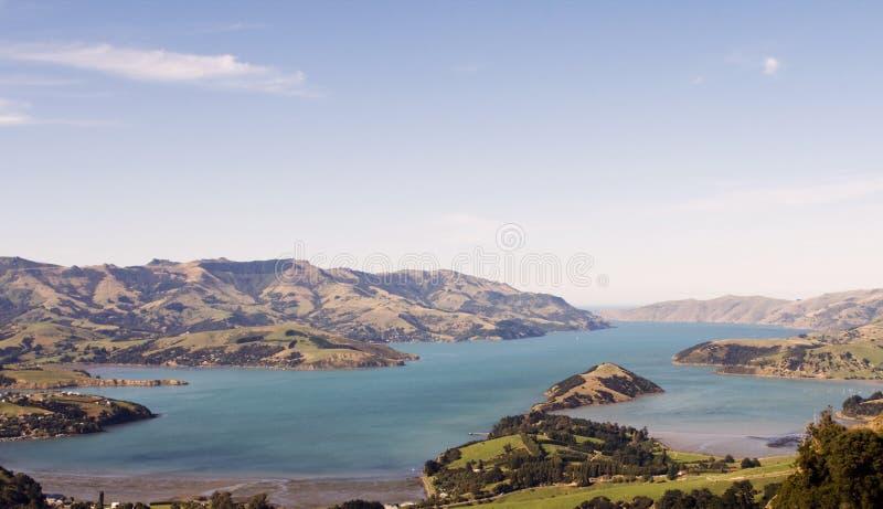 Akaroa bay in New Zealand royalty free stock images