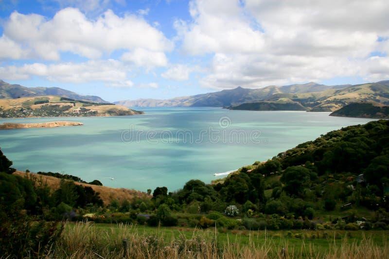 Akaroa Franse Baai dichtbij Christchurch Nieuw Zeeland stock foto