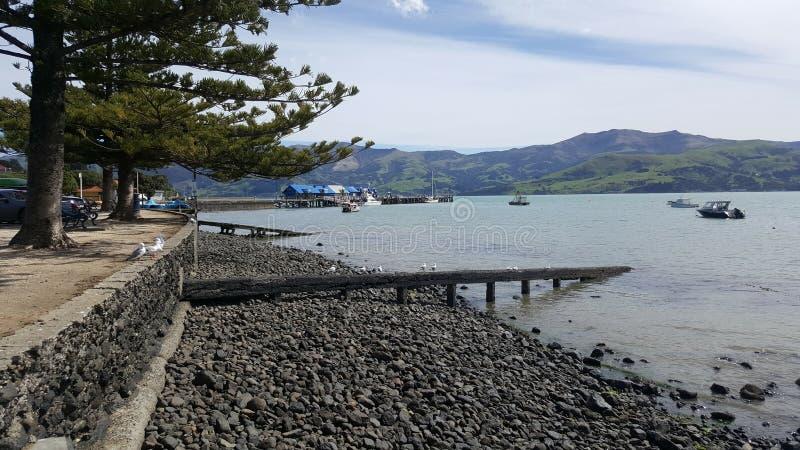 Akaroa histórico Nova Zelândia imagem de stock royalty free