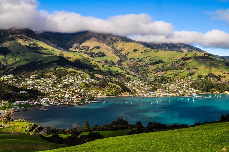 Akaroa, Neuseeland stockbild