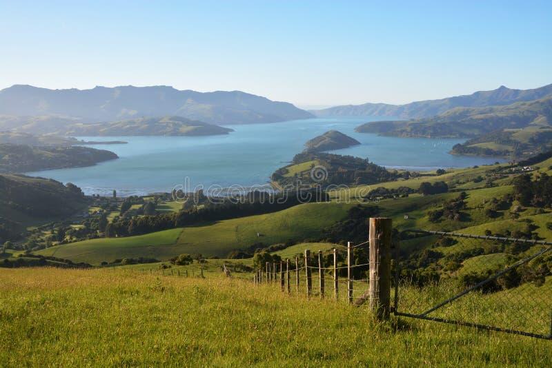 Akaroa schronienie przy świtem, Nowa Zelandia obraz stock