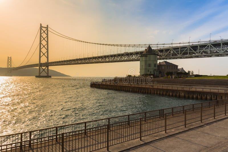 Akashi Kaikyo zawieszenia most w Kobe, Japonia obrazy royalty free