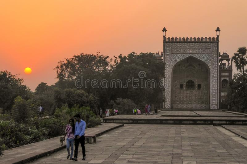 Akbar Tomb in Sikandra, near Agra, Uttar Pradesh state, northern India, Asia.  stock image