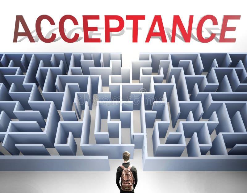 Akceptacja może być trudna do zdobycia - przedstawiona jako słowo Akceptacja i labirynt symbolizujący, że istnieje długa i trudna zdjęcie royalty free