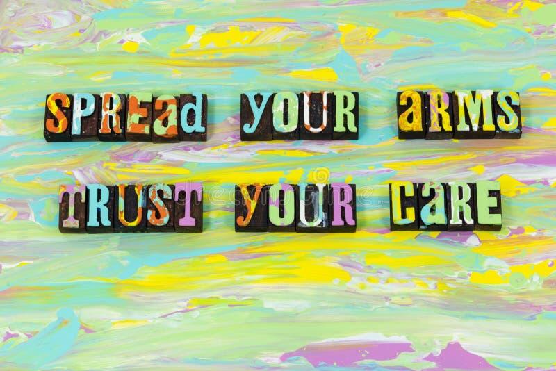 Akceptacji zaufania opieka daje pomoc rodzajowi wierzy letterpress typ ilustracja wektor