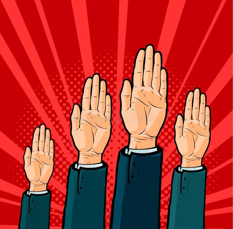 Akceptujący głosowanie Głosujący, wybory pojęcie Jednomyślnego zatwierdzenia wektoru ilustracja ilustracja wektor