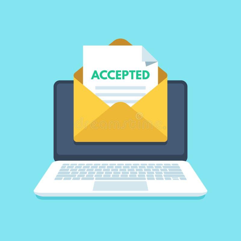 Akceptujący email w kopercie Szkoły wyższa akceptaci sukces lub uniwersyteta wstępu list Poczta w laptopu inbox wektorze royalty ilustracja