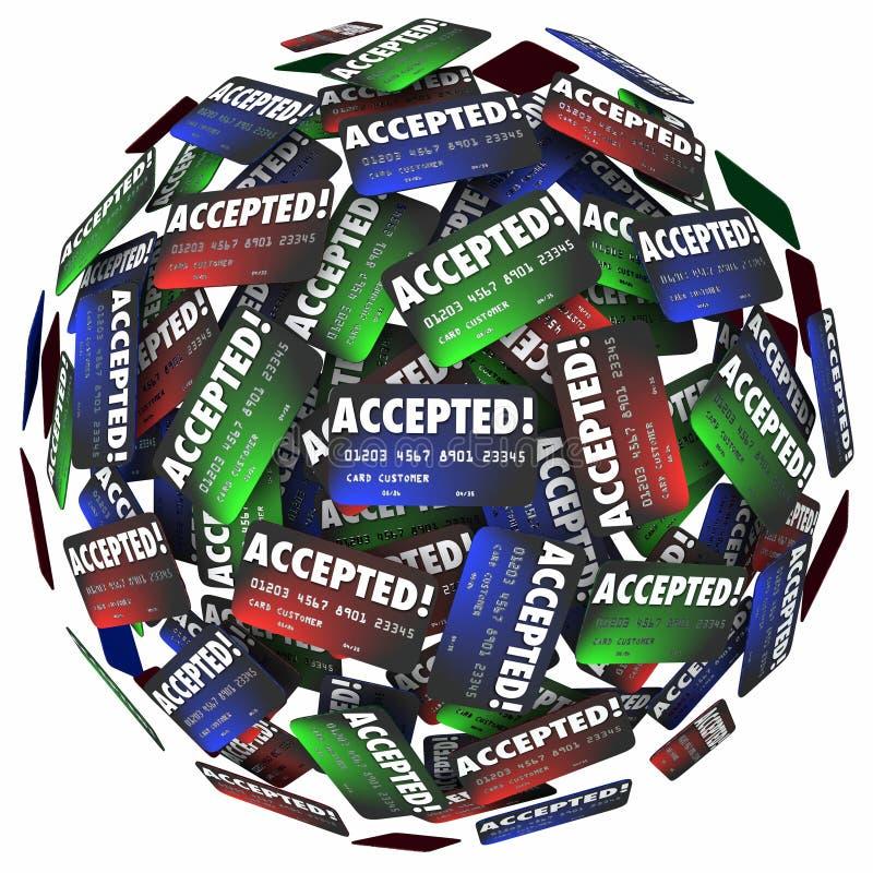 Akceptujący Kredytowej karty zapłaty ukopu pieniądze zastosowanie Zatwierdzający ilustracja wektor