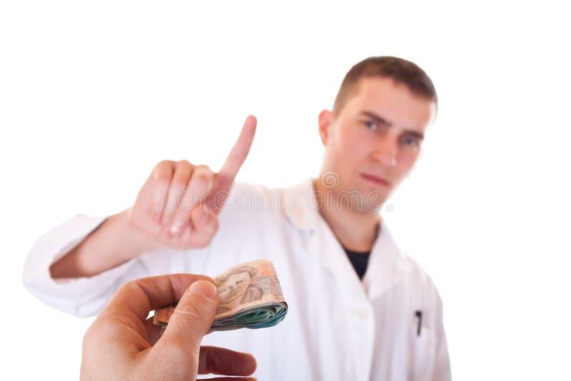 akceptuje łapówki lekarkę no nie zdjęcie stock