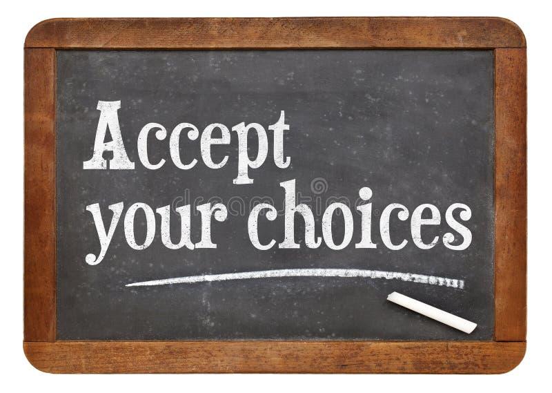 Akceptuje twój wybory obraz stock