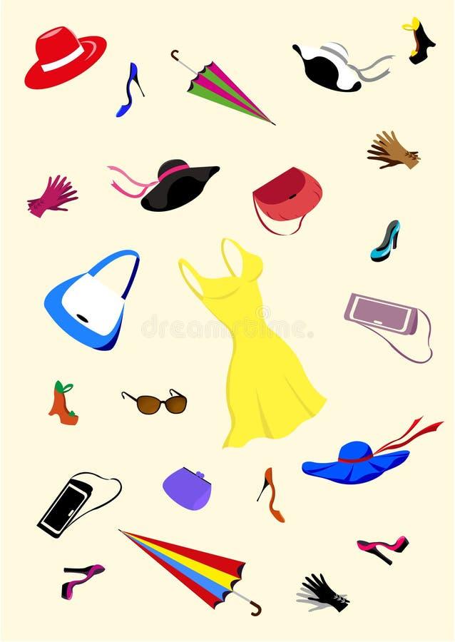 akcesoriów ans ubrań mody ustalone kobiety ilustracja wektor
