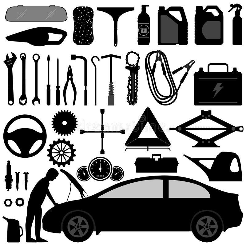 akcesoriów auto samochodu naprawy narzędzie ilustracja wektor