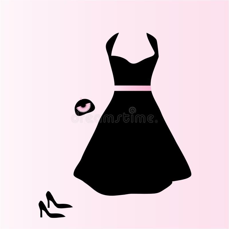 akcesoriów czerń suknia ilustracji