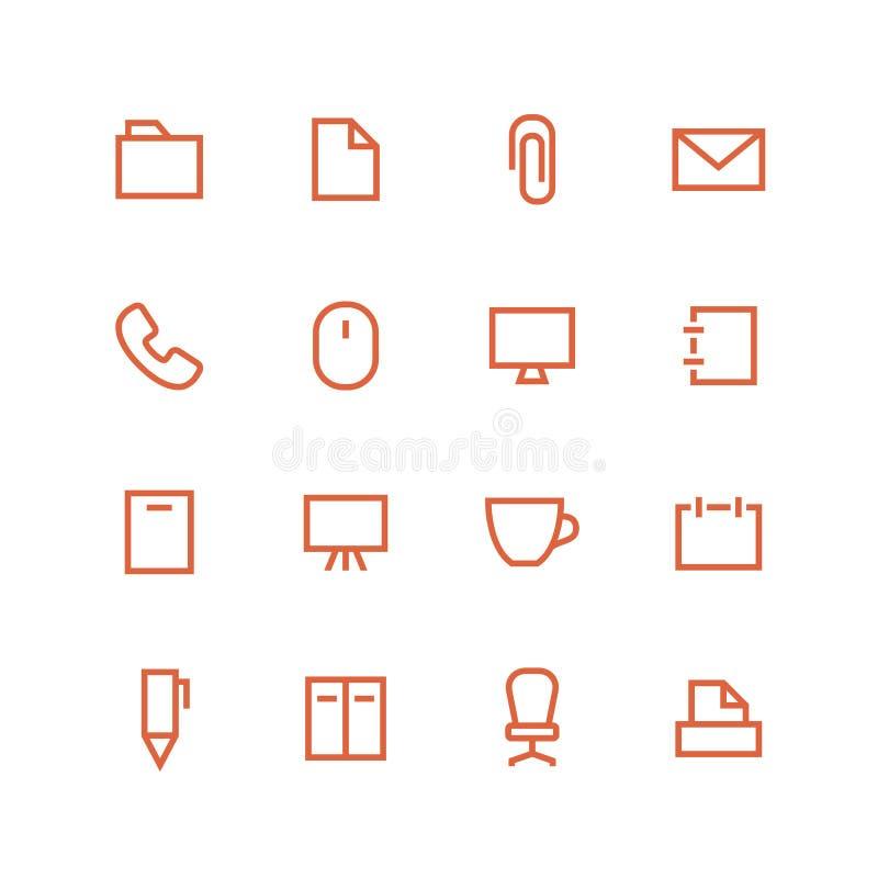 akcesoriów falcówek ikony biura set royalty ilustracja