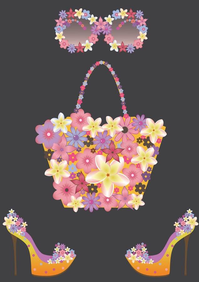 akcesoriów kwiatów kobieta ilustracji