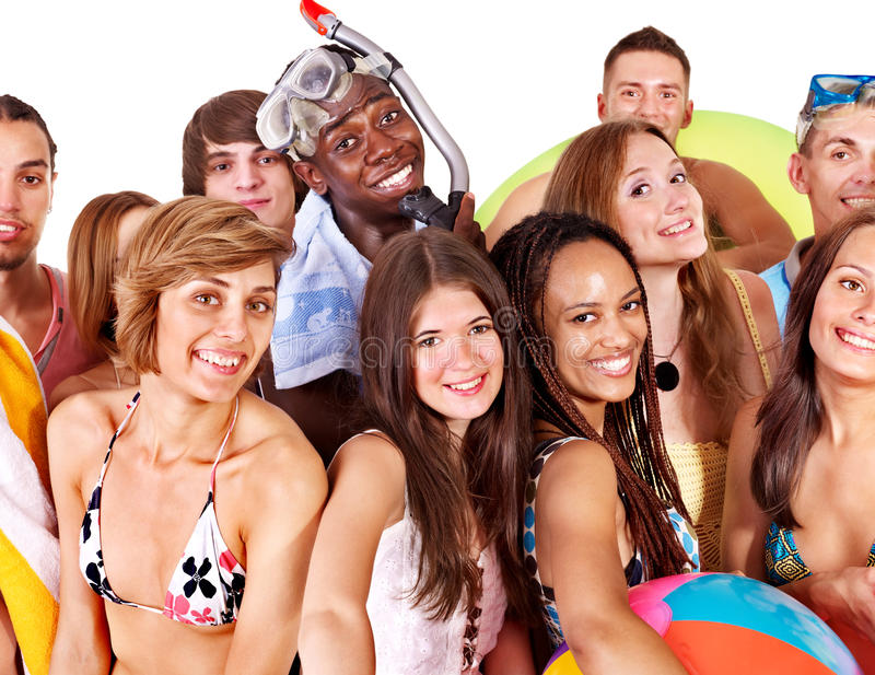 akcesoriów plażowej grupy mienia ludzie obrazy stock