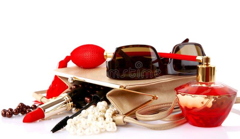 akcesoriów torby kosmetycznej kobiety otwarty snd fotografia royalty free
