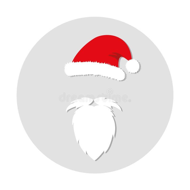 Akcesoria Święty Mikołaj broda i kapelusz ilustracji