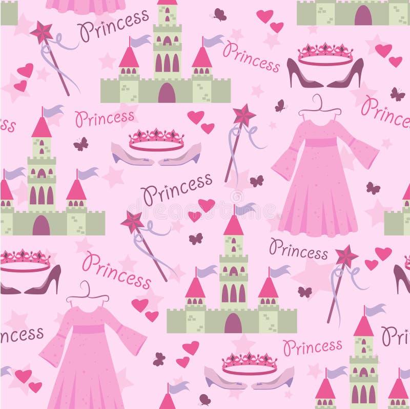 akcesoria deseniują princess bezszwowego ilustracja wektor