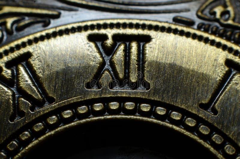 Akcesoria znoszący Romańskich liczebniki drukujących na mosiądzu robić żelazo fotografia stock