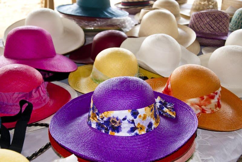 Akcesorium - Kobiecy Słomiani kapelusze obraz stock