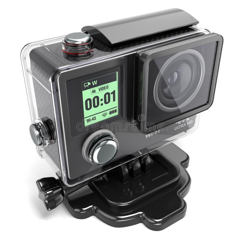 Akci kamera 4K dla krańcowego nagrywanie wideo w plastikowym pudełku 3 royalty ilustracja